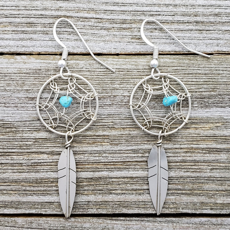Lorenzo Arviso Jr Sterling Silver Navajo Turquoise & Coral Dreamcatcher Earrings