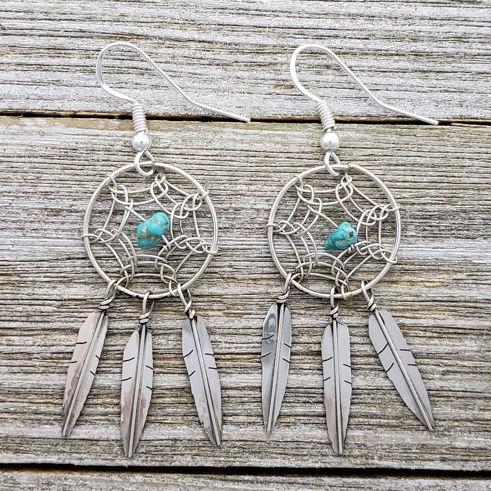 Lorenzo Arviso Jr Sterling Silver Navajo Turquoise Dreamcatcher Earrings