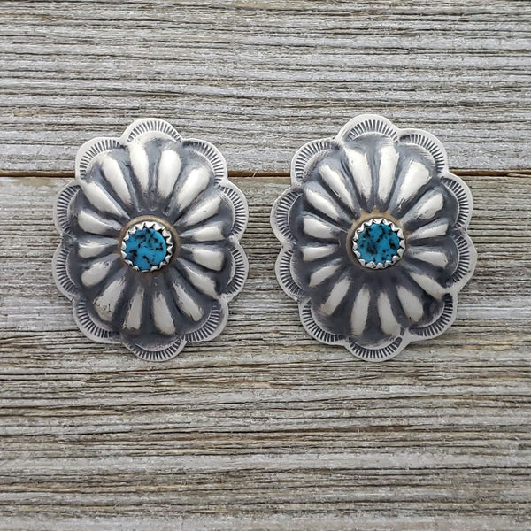 "Ryan Begay Sterling Silver Navajo Turquoise Oval Concho Post Earrings 1"" x 1.25"""