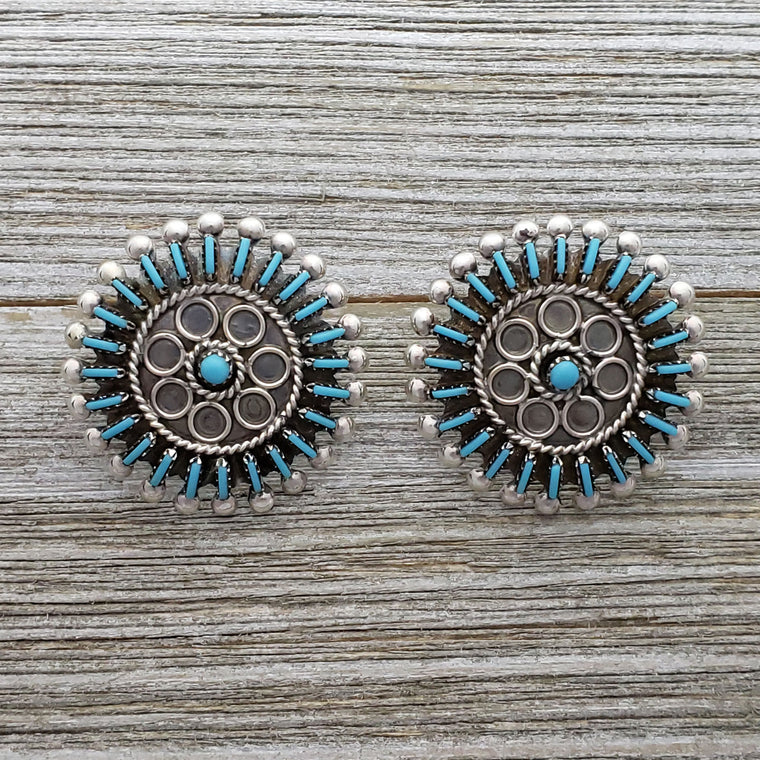 Philander Gia Sterling Silver Zuni Turquoise Needlepoint Cluster Earrings