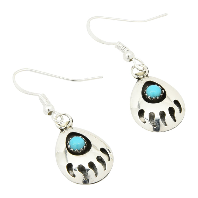 Leta Parker Turquoise Small Bear Paw Dangle Earrings Sterling Silver