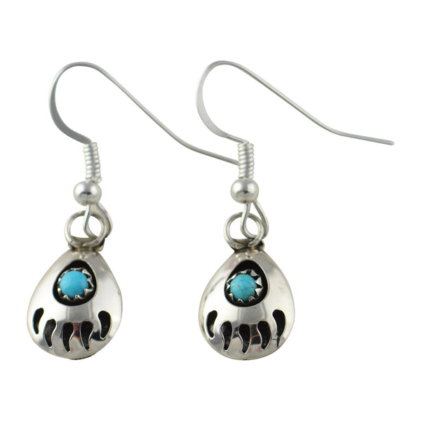 Leta Parker Turquoise Mini Bear Paw Dangle Earrings Sterling Silver - Turquoise925