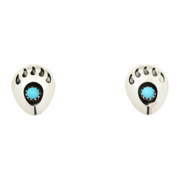 Leta Parker Turquoise Small Bear Paw Post Earrings Sterling Silver
