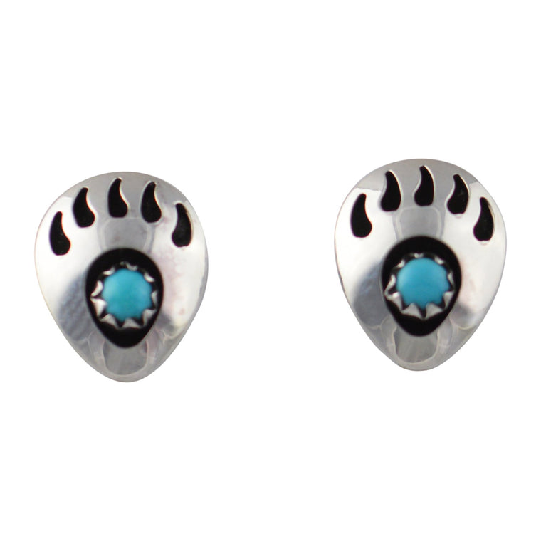 Leta Parker Turquoise Mini Bear Paw Stud Earrings Sterling Silver