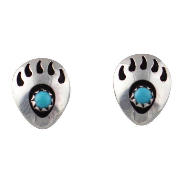 Leta Parker Turquoise Mini Bear Paw Stud Earrings Sterling Silver - Turquoise925