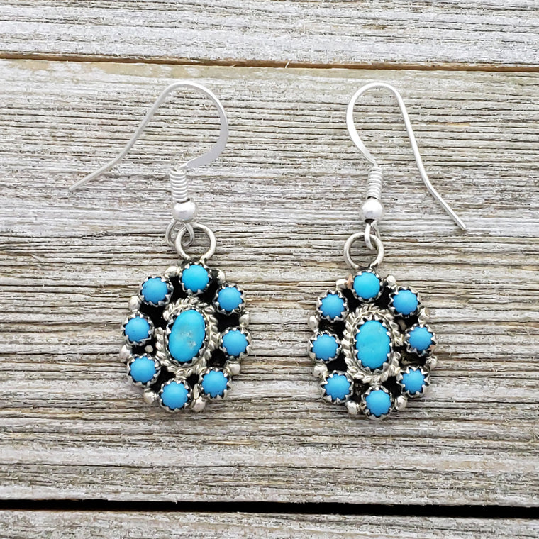 Nathaniel Curley Sterling Silver Navajo Turquoise Cluster Dangle Earrings