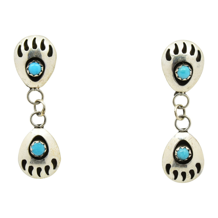 Esther White Double Turquoise Mini Bear Paw Earrings Sterling Silver