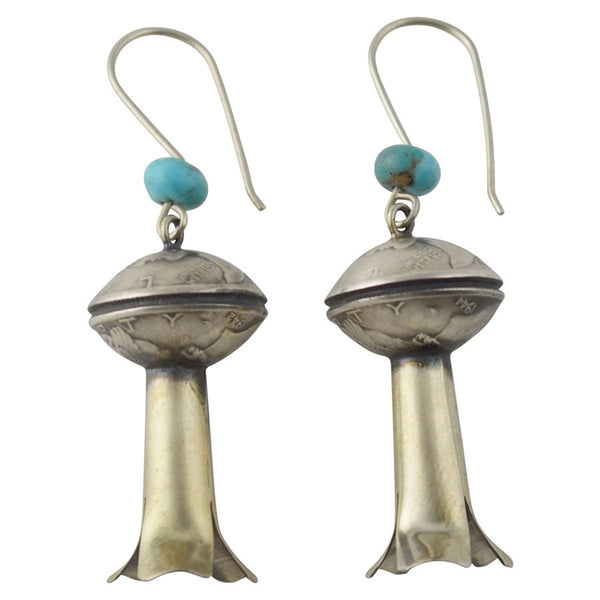 James McCabe Mercury Dime Coin Turquoise Squash Blossom Earrings Silver Navajo - Turquoise925