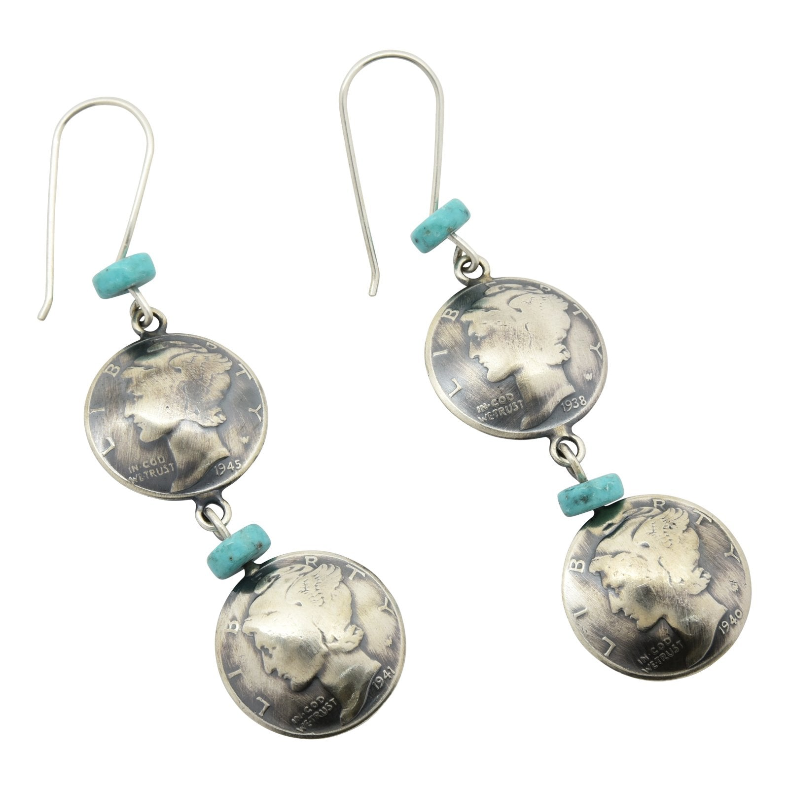 James McCabe Mercury Dime Double Coin Turquoise Earrings Silver Navajo - Turquoise925