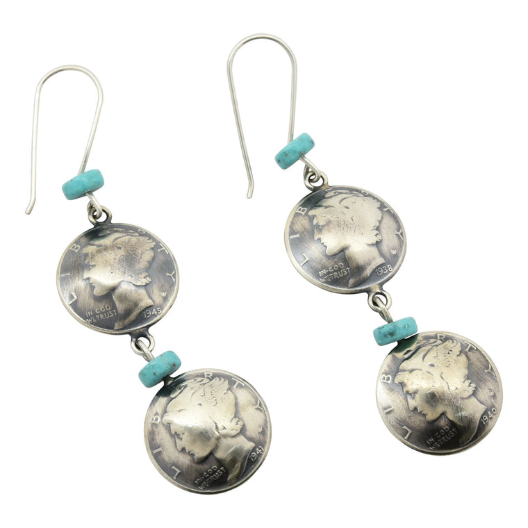 James McCabe Mercury Dime Double Coin Turquoise Earrings Silver Navajo