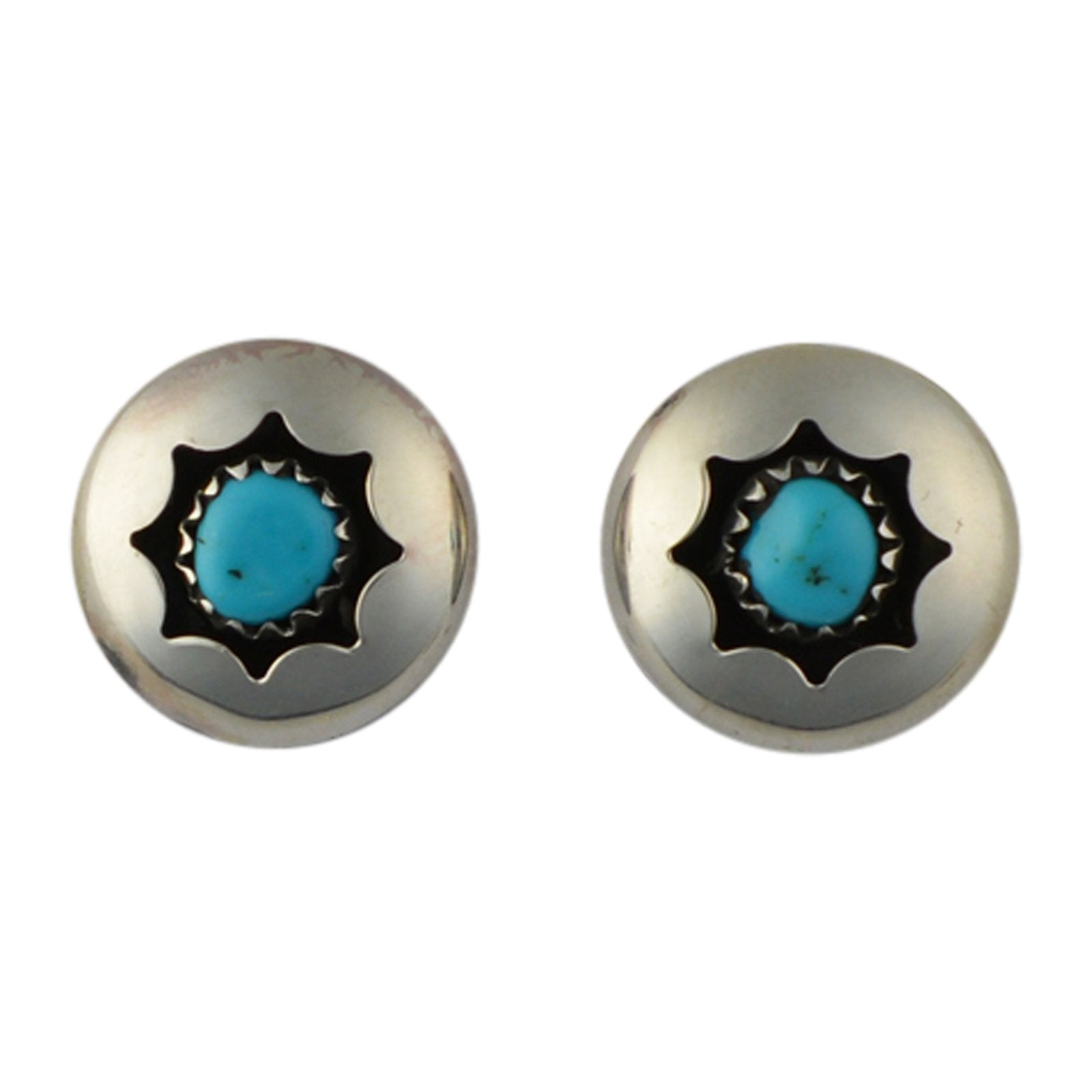 Esther White Turquoise Shadow Box Post Earrings Navajo Sterling Silver - Turquoise925