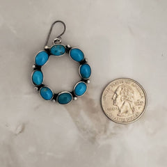 Sterling Silver Stamped Genuine Turquoise Round Dangle Earrings