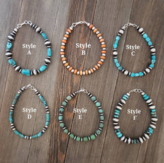 Sterling Silver Genuine Turquoise & Orange Spiny Oyster Beaded Navajo Pearl Bracelets