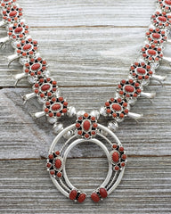 Nathaniel Curley Sterling Silver Navajo Coral Cluster Squash Blossom Necklace Earring Set
