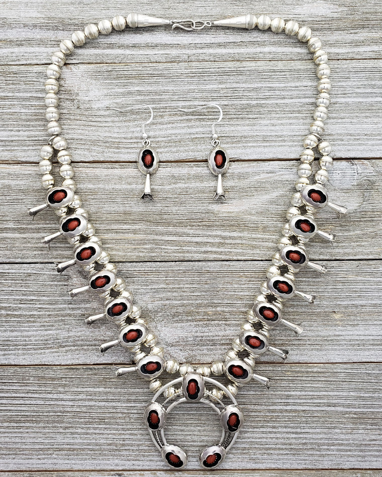 Phil Garcia Sterling Silver Navajo Coral Shadow Box Squash Blossom Necklace Earring Set