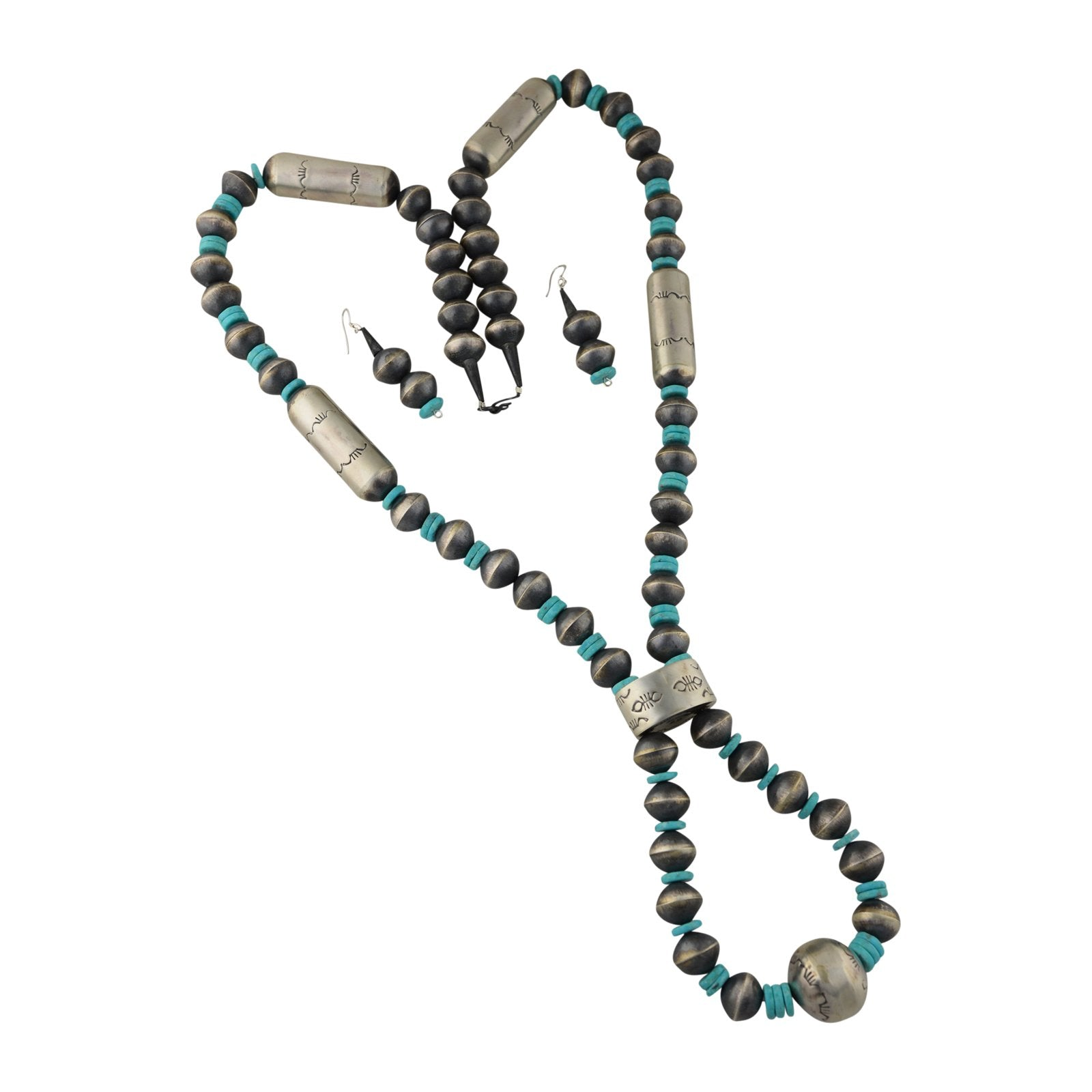 Sophia Becenti Sterling Silver Turquoise Navajo Pearl Jacla Necklace & Earrings - Turquoise925
