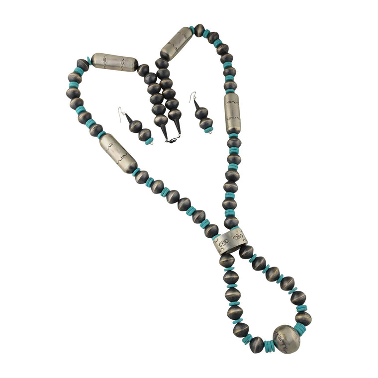 Sophia Becenti Sterling Silver Turquoise Navajo Pearl Jacla Necklace & Earrings