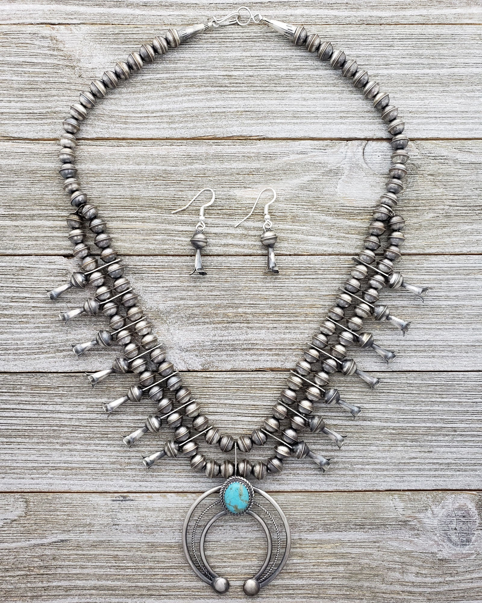 Phil Garcia Oxidized Sterling Silver Navajo Green Turquoise Squash Blossom Necklace Earring Set