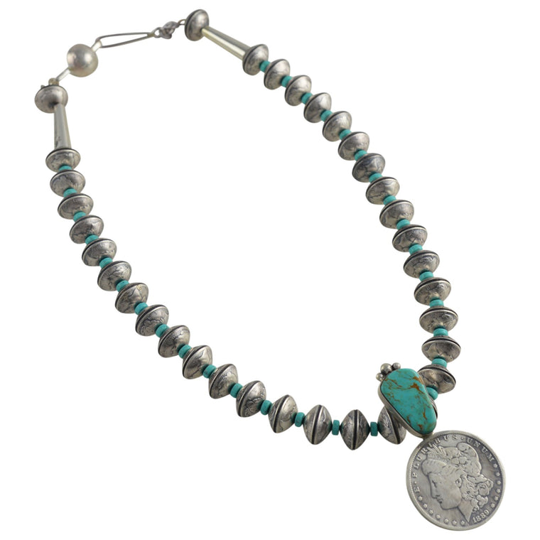 James McCabe Sterling Silver Kingman Turquoise & Mercury Dime Morgan Dollar Coin Necklace Navajo