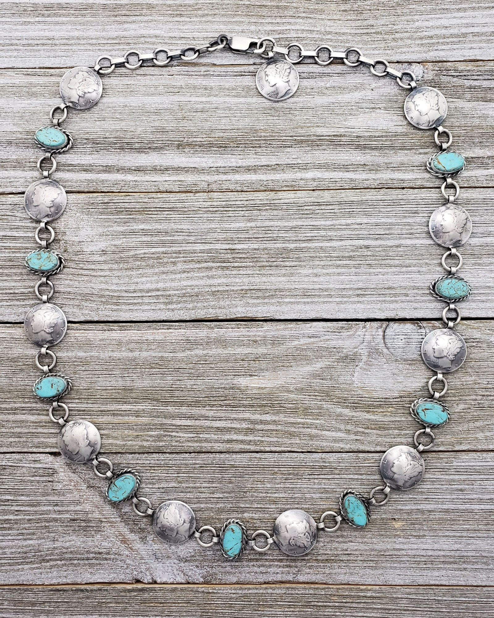 James McCabe Sterling Silver Turquoise & Mercury Dime Alternating Link Navajo Necklace