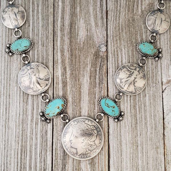 James McCabe Sterling Silver Navajo Turquoise & Coins Alternating Link Graduated Necklace
