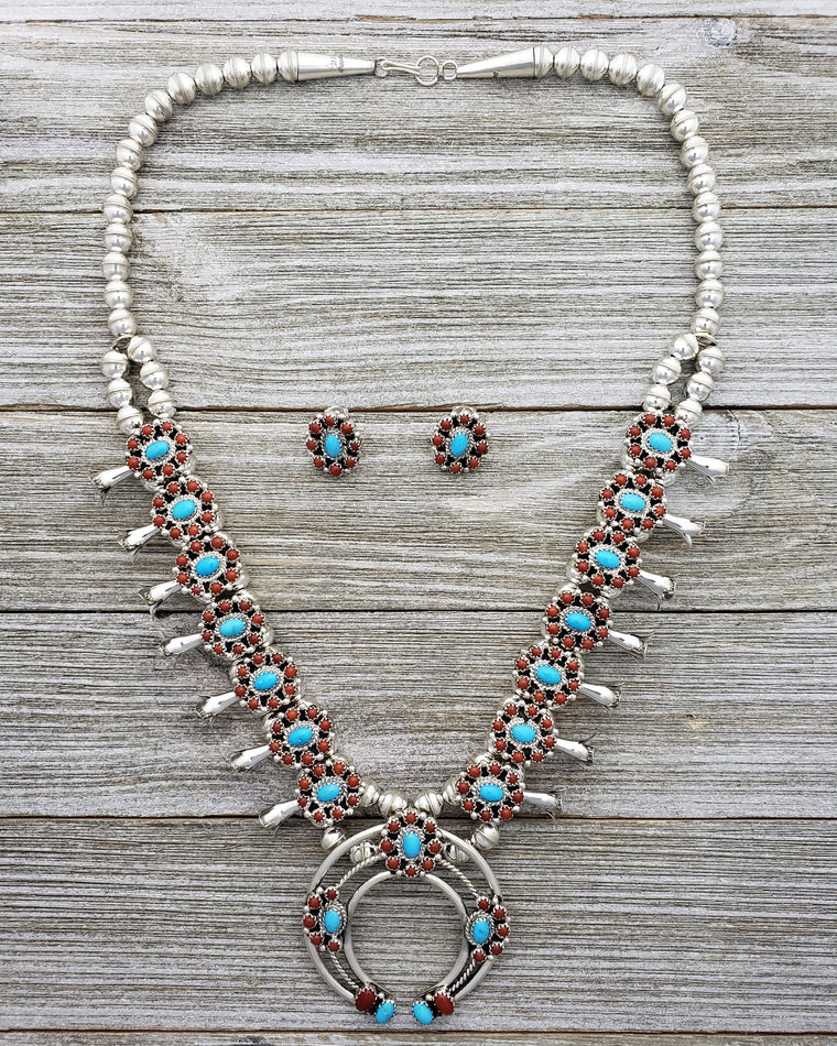 Nathaniel Curley Sterling Silver Navajo Turquoise & Coral Cluster Squash Blossom Necklace Earring Set