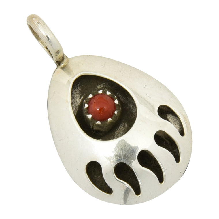 Leta Parker Coral Small Bear Paw Pendant Navajo Sterling Silver