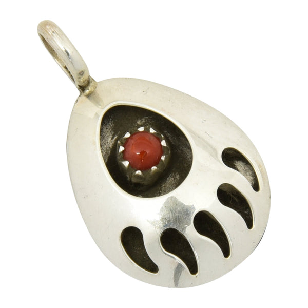 Leta Parker Coral Small Bear Paw Pendant Navajo Sterling Silver - Turquoise925