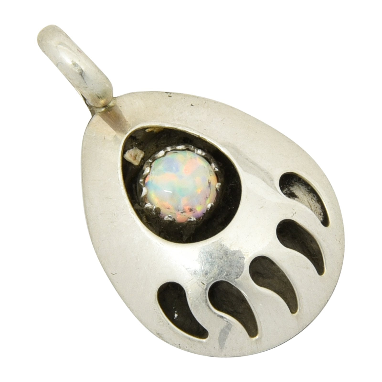 Leta Parker White Lab Opal Small Bear Paw Pendant Navajo Sterling Silver - Turquoise925