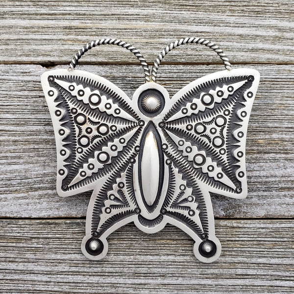 Herman Smith Sterling Silver Butterfly Stamped Navajo Pendant / Pin