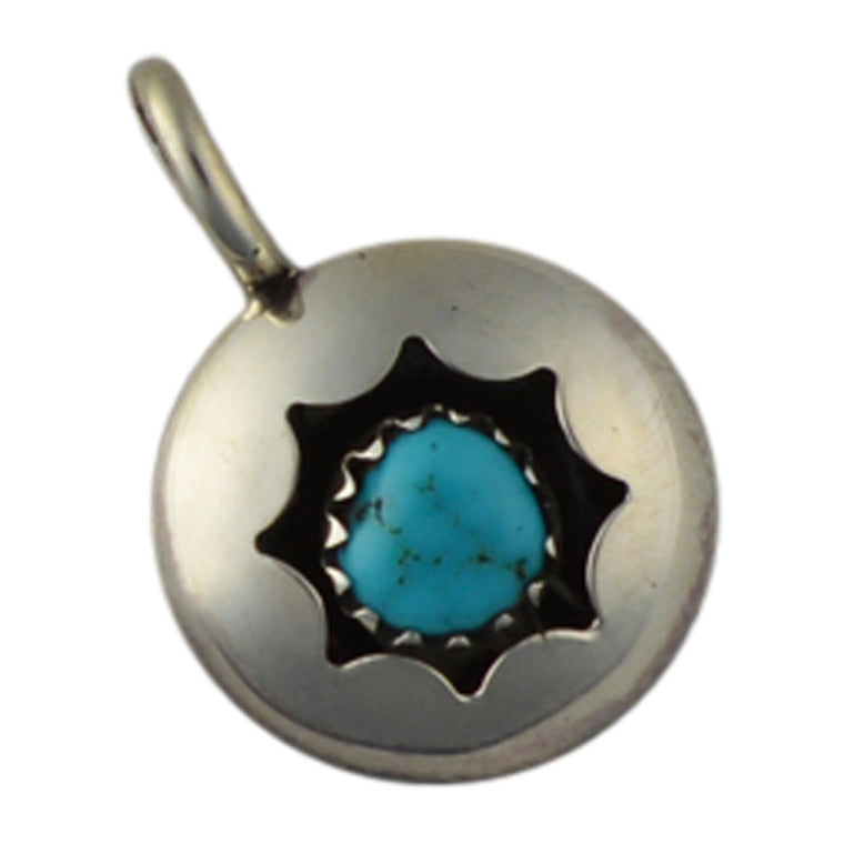 Esther White Turquoise Round Shadow Box Pendant Navajo Sterling Silver