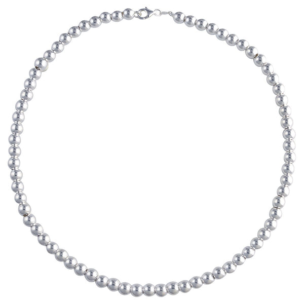 Sterling Silver Loose Hollow Bead Ball 7mm Necklace Chain Italian Italy