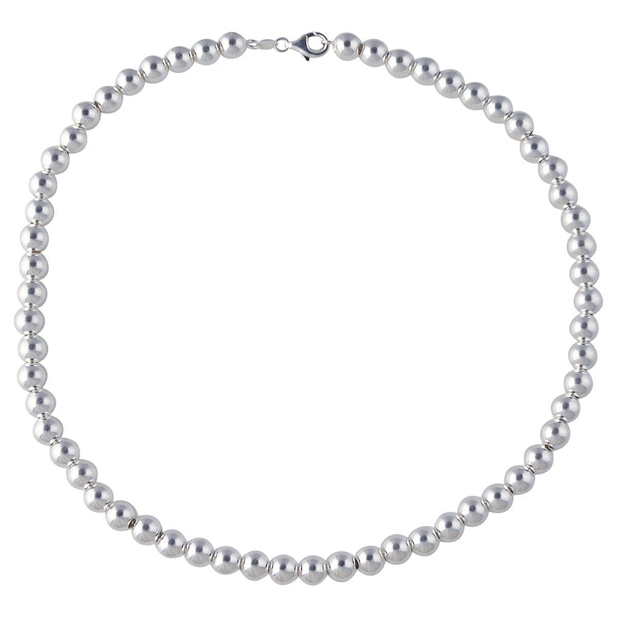 Sterling Silver Loose Hollow Bead Ball 8mm Necklace Chain Italian Italy