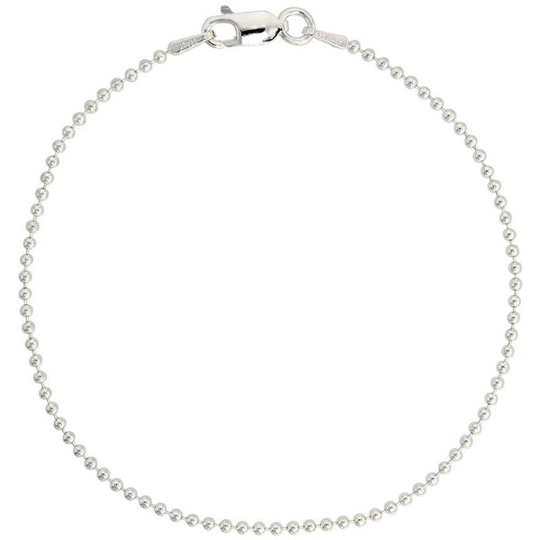 Sterling Silver Round Bead Ball 1.8mm Necklace Chain Dog Tag