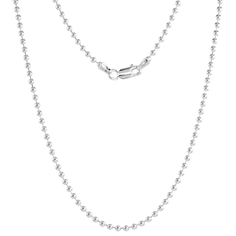 Sterling Silver Round Bead Ball 2.2mm Necklace Chain Dog Tag