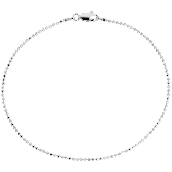Sterling Silver Diamond Cut Bead Ball 1.5mm Necklace Chain Dog Tag Shiny