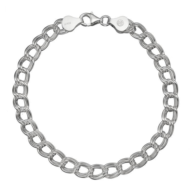 Sterling Silver Charm Double Link Parallelo 7mm Bracelet Chain