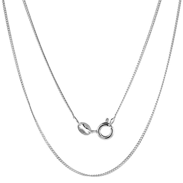 Sterling Silver Curb 1mm Necklace Chain Italian Italy Gourmette