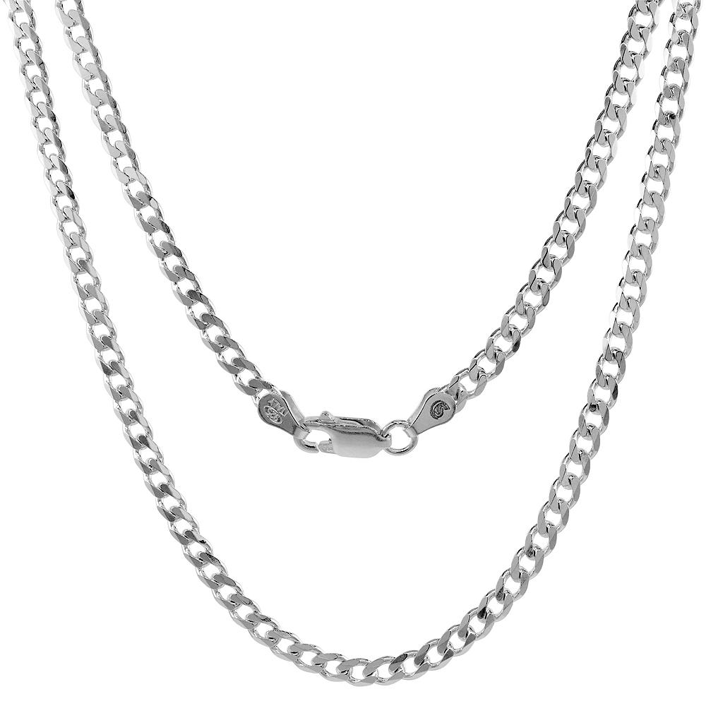 Sterling Silver Curb 4mm Necklace Bracelet Chain Italian Italy