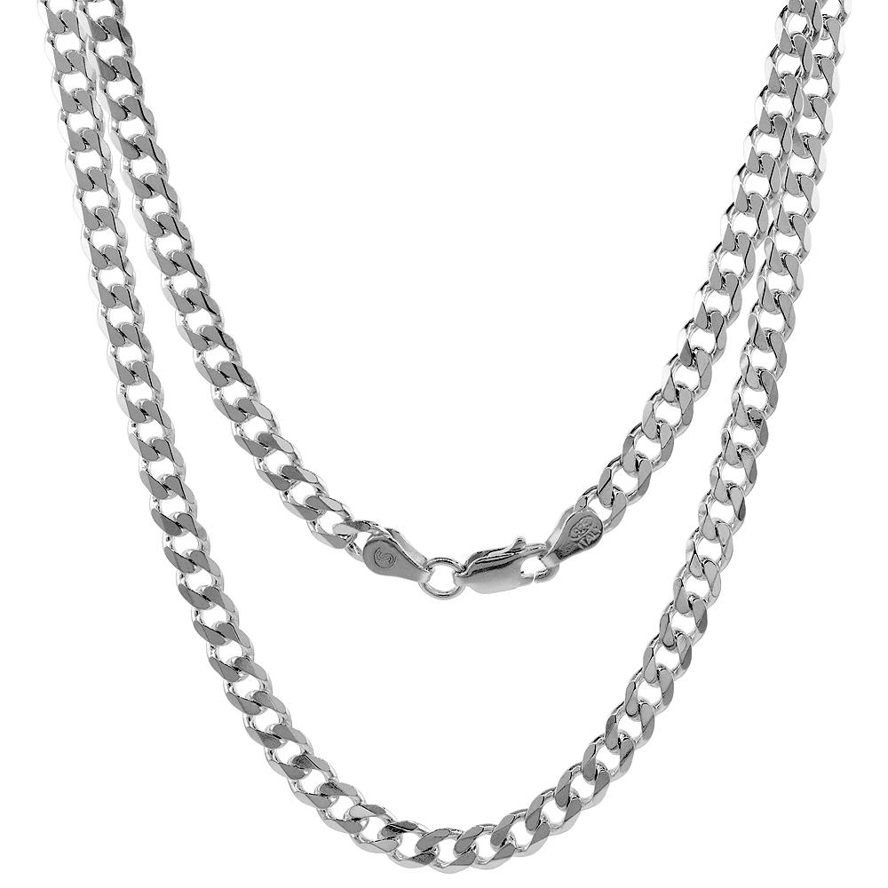 Sterling Silver Curb 5mm Necklace Bracelet Chain Italian Italy Mens