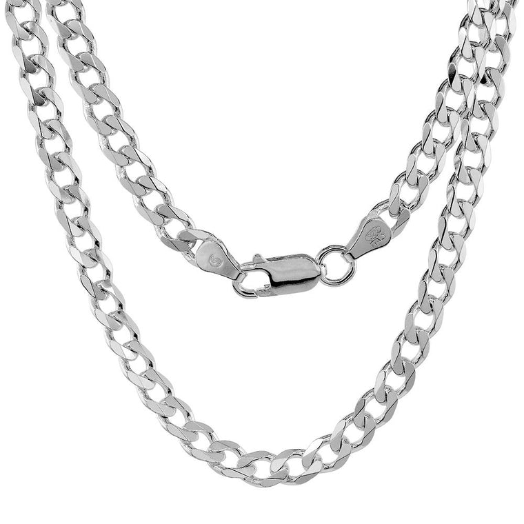 Sterling Silver Curb 6mm Necklace Bracelet Chain Italian Italy Mens