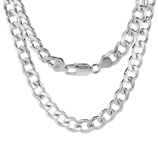Sterling Silver Curb 8mm Necklace Bracelet Chain Italian Italy Mens