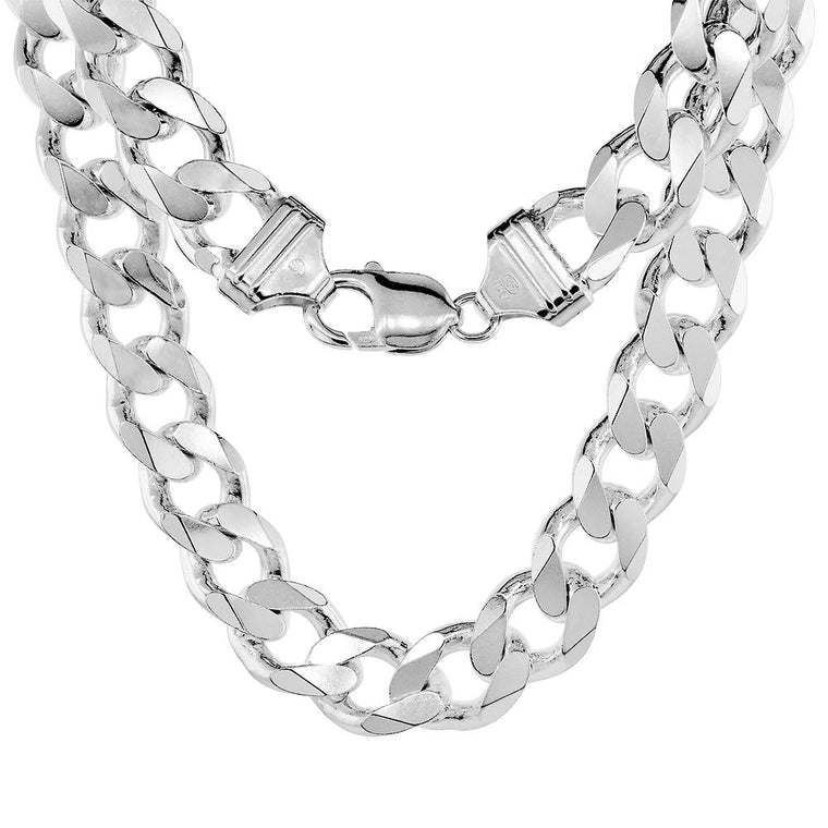 Sterling Silver Curb 13mm Necklace Bracelet Chain Italian Italy Mens