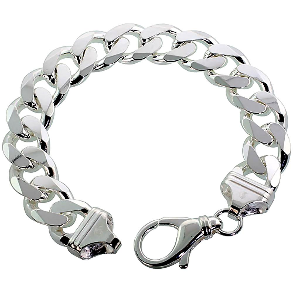 Sterling Silver Curb 15mm Necklace Bracelet Chain Italy Mens