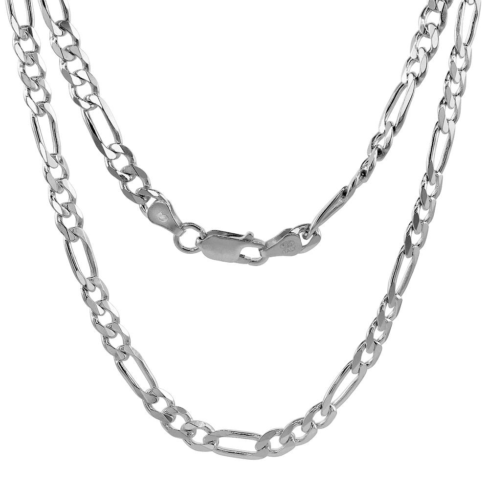 Sterling Silver Figaro 6mm Mens Necklace Bracelet Chain Italian Italy