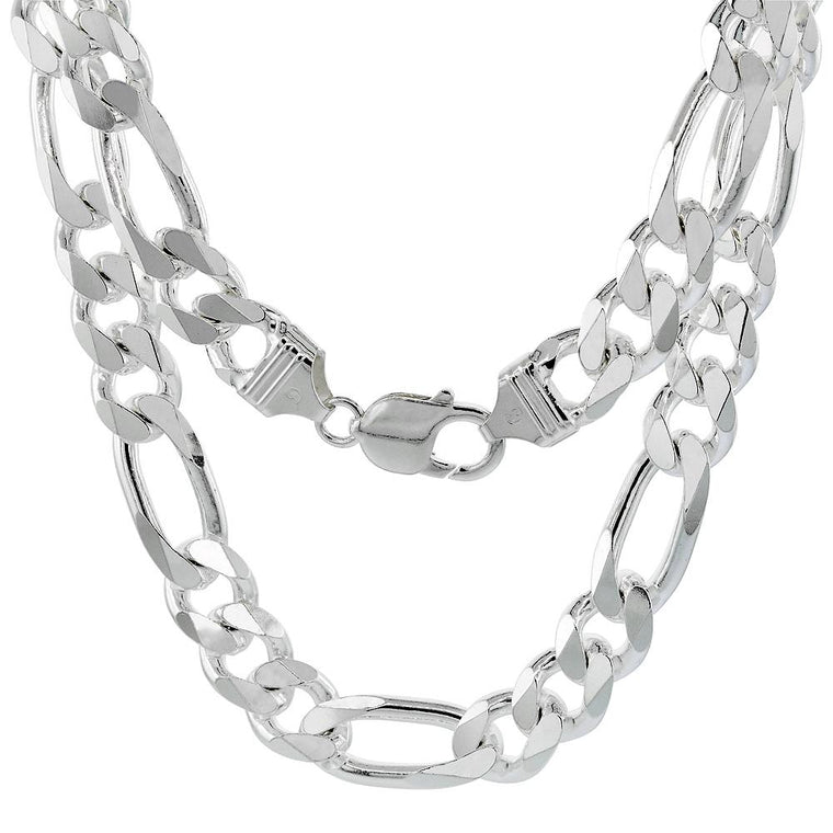 Sterling Silver Figaro 11mm Mens Necklace Bracelet Chain Italy