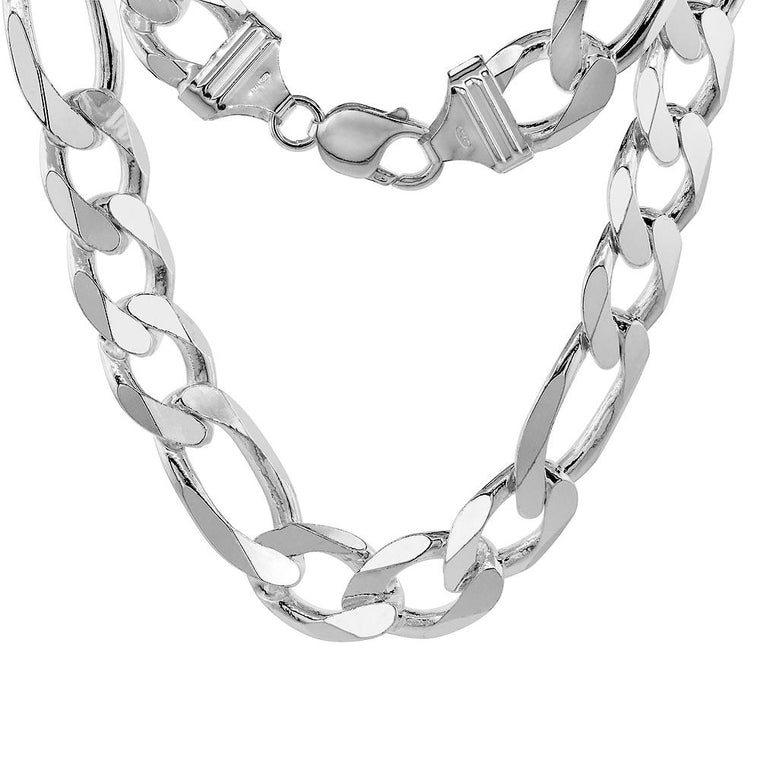 Sterling Silver Figaro 15mm Mens Necklace Bracelet Chain Italian