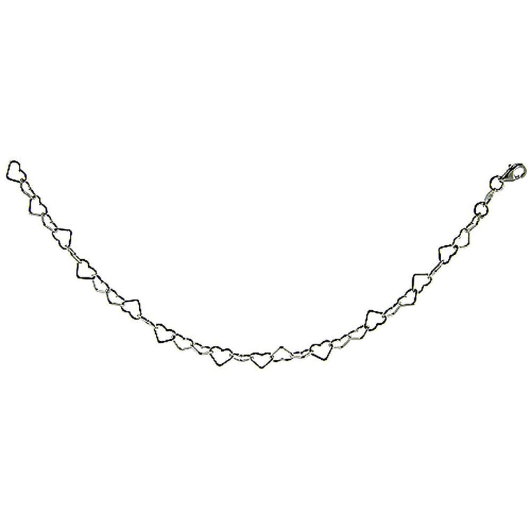 Sterling Silver Small Heart Link 5.8mm Necklace Anklet Chain Italian Italy