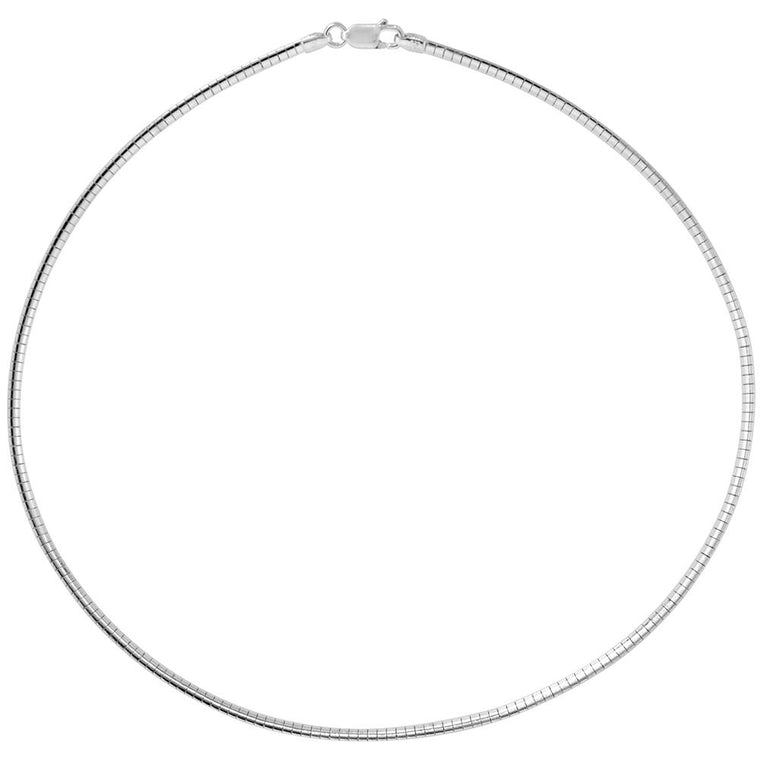 Sterling Silver Omega 2mm Necklace Chain Italian Italy