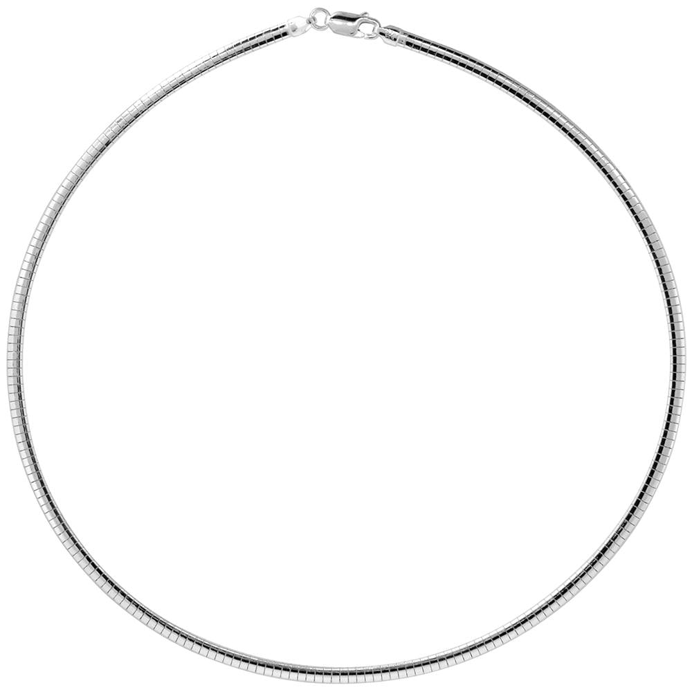 Sterling Silver Omega 3mm Necklace Chain Italian Italy